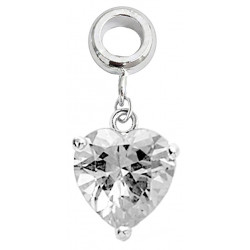 Silver Heart Charm with CZ  Crystals - Fits all Pandora Bracelets