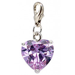 Silver CZ  Crystals Heart Charm Heart with Spring Spring Lobster Clasp