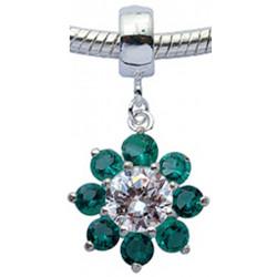 Sterling Silver Flower Design Charm with CZ  Crystal for  Bracelets
