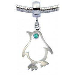 Silver Penguin Design Charm for  Pandora Bracelet with CZ  Crystals