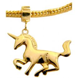 Silver Charm Gold Plated Unicorn for  Pandora Bracelets
