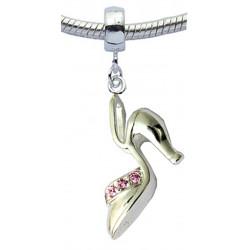 Silver Stilleto Shoe Charm with CZ  Crystals - Fits All Bracelets