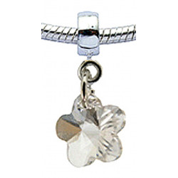 Silver Flower  with CZ  Crystals Charm for  Pandora Bracelet