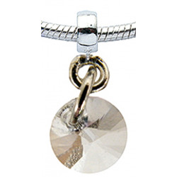 Silver Round Charm with CZ  Crystals for  Pandora Bracelet