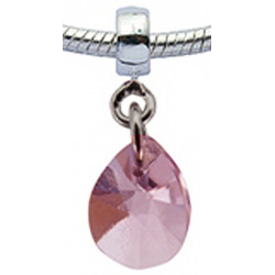Silver Charm Tear Drop with CZ  Crystals for  Pandora Bracelet