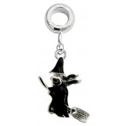 Charm Witch Painted with Black Enamel Colour - Fits All Pandora Bracelets