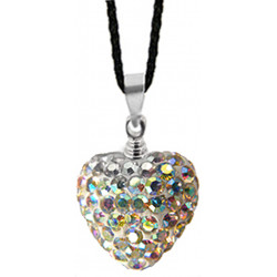3D Heart Love Pendant Studded with CZ Crystals - Various Colours