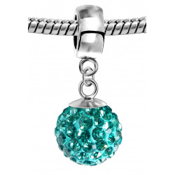 Silver Shamballa Charm with CZ Crystals Bling Bling - Various Colours