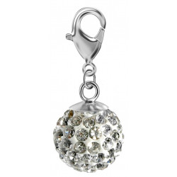 Silver Shamballa Charm with CZ Crystals and Lobster Clasp - Various Colours
