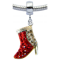 Silver Boots Design Charm with CZ  Crystals for  Pandora Bracelet
