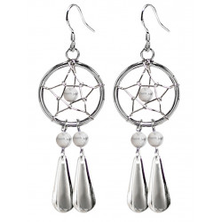 Handmade Silver Dreamcatcher Star with Dangle Tear Drop Earrings with Genuine Stone Beads That Comes in Coral, Turquoise, Onyx, Lapis and White.