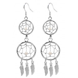 Hand Made Silver Dreamcatcher Double Dangle Earrings with Genuine Stone Beads That Comes in Coral, Turquoise, Onyx, Lapis and White.