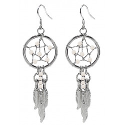 Hand Made Silver Dreamcatcher Star Dangle Earrings with Genuine Stone Beads That Comes in Coral, Turquoise, Onyx, Lapis and White.