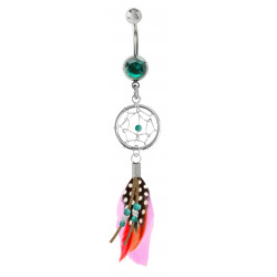 Silver Dreamcatcher Feather Belly Bars with Genuine Stone Beads and Plumage Bird Feathers.