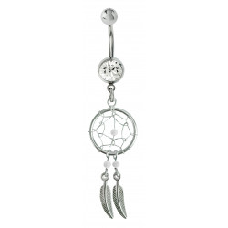 Silver Dreamcatcher Belly Bars with Genuine Stone Beads That Comes in Coral, Turquoise, Onyx, Lapis and White.
