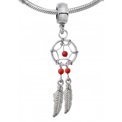 Silver Dreamcatcher Charms Pendant with Genuine Stone Beads for European Bracelets and Necklace