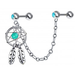 Hand Made Silver Dreamcatcher Ear-Cuff Earrings with Genuine Stone Beads That Comes in Coral, Turquoise, Onyx, Lapis and White