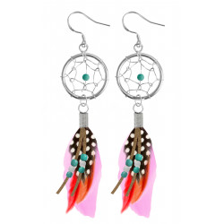 Silver Dreamcatcher Earrings or Pendant with Genuine Stone Beads and Plumage Bird Feathers.