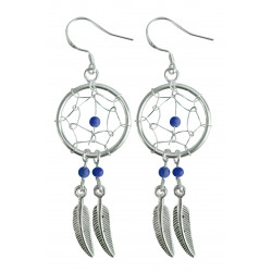 Silver Dreamcatcher Earrings with Genuine Stone Beads