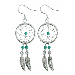 Silver Dreamcatcher Earrings with Genuine Stone Beads That Comes in Coral, Turquoise, Onyx, Lapis and White.
