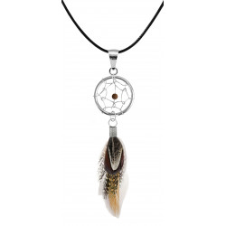 Silver Dreamcatcher Pendant with Genuine Stone Beads and Plumage Bird Feathers.