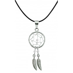 Hand Made Silver Dreamcatcher Pendants with Genuine Stone Beads That Comes in Coral, Turquoise, Onyx, Lapis and White.