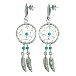 Silver Dreamcatcher Stud Earrings with Genuine Stone Beads That Comes in Coral, Turquoise, Onyx, Lapis and White.
