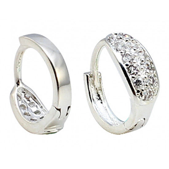 Mens Silver Huggie Earrings with CZ Clear Crystals Hand Polished and Hand Finished to A Hight Jewellery Quality