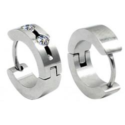 Stainless Steel Unisex Hoop Huggie Stud Earrings with CZ Crystal