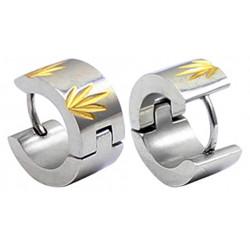 Stainless Steel Unisex Hoop Huggie Stud Earrings - Ganja