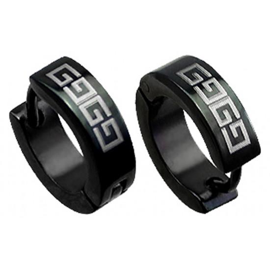 Stainless Steel Black Unisex Hoop Stud Earrings