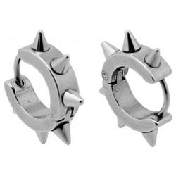 Stainless Steel Spike Unisex Hoop Stud Earrings