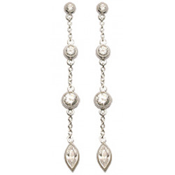 Beautiful 3 Drop Dangle Earrings with CZ Clear Crystals