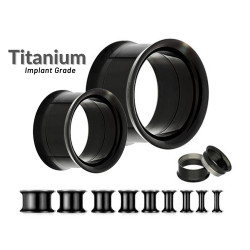 Titanium Double Flared Black Eyelet Tunnel Ear Stretcher Plug - Expander Body Piercing - Quality tested at Sheffield Assay England
