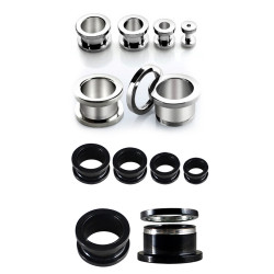 Flesh Tunnel Stainless Steel Plugs Screw Ear Stretcher - Expander Body Piercing - Quality tested at Sheffield Assay England