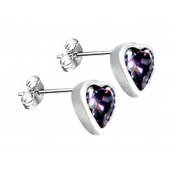 Sterling Silver Solitaire Heart Studs Earrings and Heart CZ  Crystals - Various Sizes and Colors