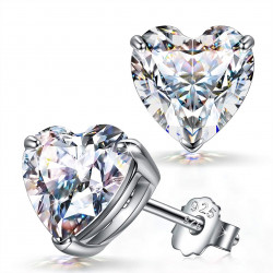 Silver Heart Solitaire Stud Earrings - AAA+ CZ Crystals