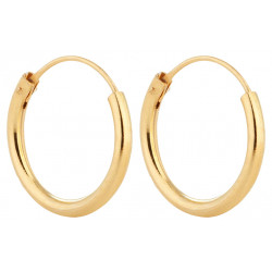 Silver Unisex High Polished Round Hoop Earrings Gold plated - Various Sizes