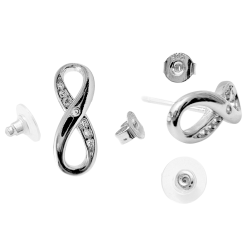 Infinity Stud Earrings - Eternal Design Earrings - 925 Sterling Silver - CZ Crystals - Silver, Gold and Rose Gold