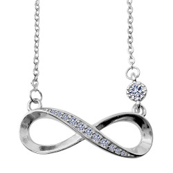 Infinity Necklace & Pendant - Eternal Design Necklace & Earrings - 925 Sterling Silver - CZ Crystals - Silver, Gold and Rose Gold