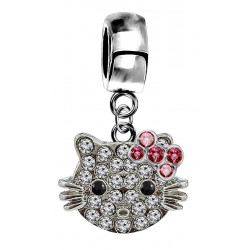 Silver Hellokitty Charm with CZ Crystals - available in 3 different styles