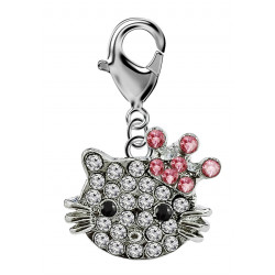 Silver Hellokitty Charm with Lobster Clasp and CZ Crystals - available in 3 different styles