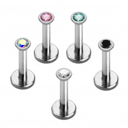 Labret Lip Piercing with CZ Crystals Internally Threaded Push Ball- Various Sizes