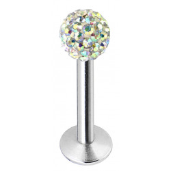 Surgical Steel Labret Lip Piercing - 316L  with CZ  Shamballa Crystal Ball - Various Sizes and Colors