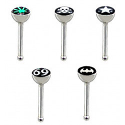 5 Pieces Of Surgical Steel Logo Nose Pins - You Get One Each Of The Logo Designs, Total 5 Pieces