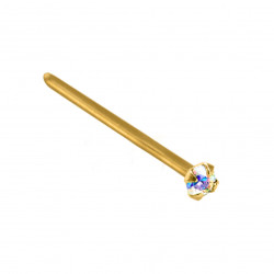 14K Gold Straight Nose Pin with Round CZ Crystals