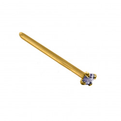14K Gold Straight Nose Pin with Square CZ Crystals