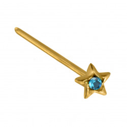 14K Gold Straight Star Nose Pin with Center CZ Crystals