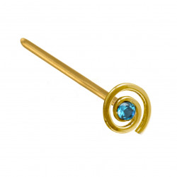 14K Gold Straight Nose Pin with Twirl Design and CZ Crystals