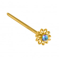 14K Gold Straight Flower Nose Pin with Center CZ Crystals